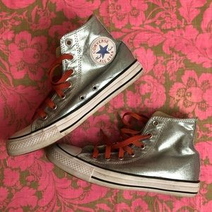 Metallic blue shiny Converse High tops